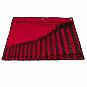 Raised Panel Black Oxide Combination Wrench Set - MM | 16 Pc