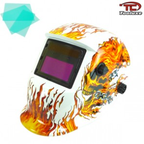 Auto Darkening/Solar Powered Welding Helmet - Skeleton Flame Design | TIG/MIG