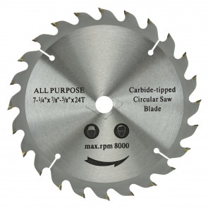 "Carbide Tipped Saw Blade 7 1/4"" x 24T x 1"""