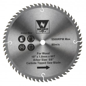 """Carbide Tipped Saw Blade 10"""" x 60T for Wood"""