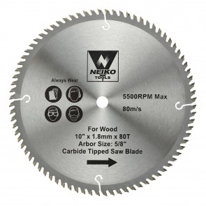 """Carbide Tipped Saw Blade 10"""" x 80T for Wood"""