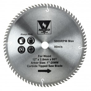 """Carbide Tipped Saw Blade 12"""" x 80T for Wood"""